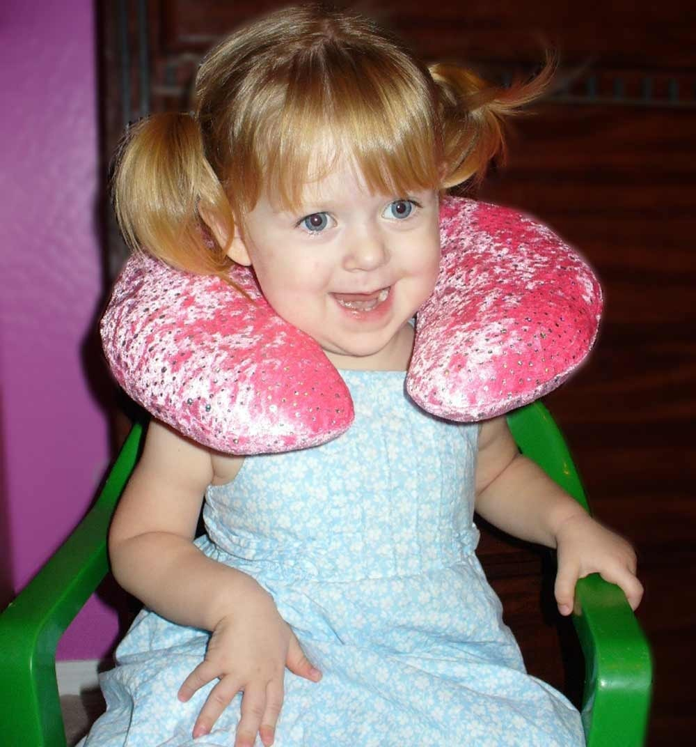 Traveling Toddler  - Sparkled Cuddle Neck Wrap - Girl Travel Pillow Pink