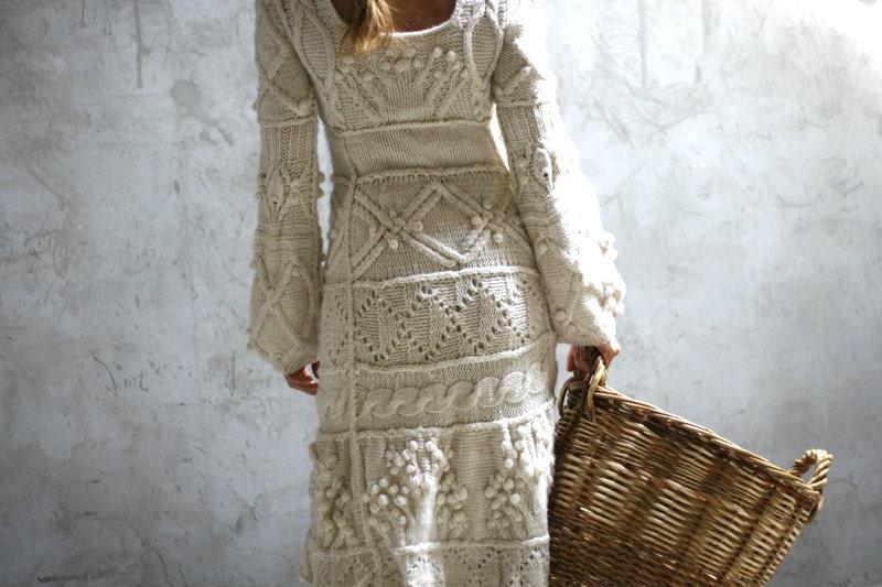 Off-white hand knit dress wedding dress - custom order - Muza