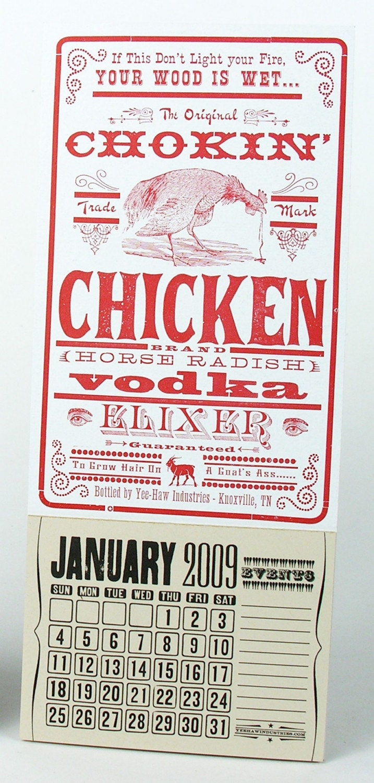 1 YEE HAW NOVELTY CHOKIN' CHICKEN VODKA MINI CALENDAR by YeeHaw from etsy.com