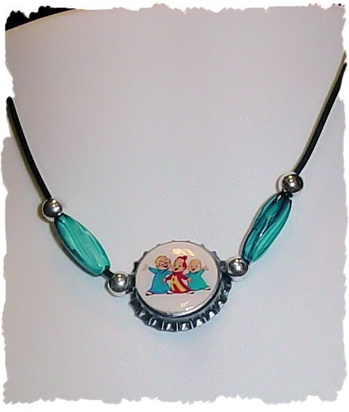 Custom made Alvin and the Chipmunks Bottle cap Necklace