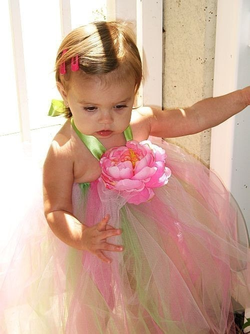 Flower Fairy tutu dress with pink or white peony. FREE shipping to US