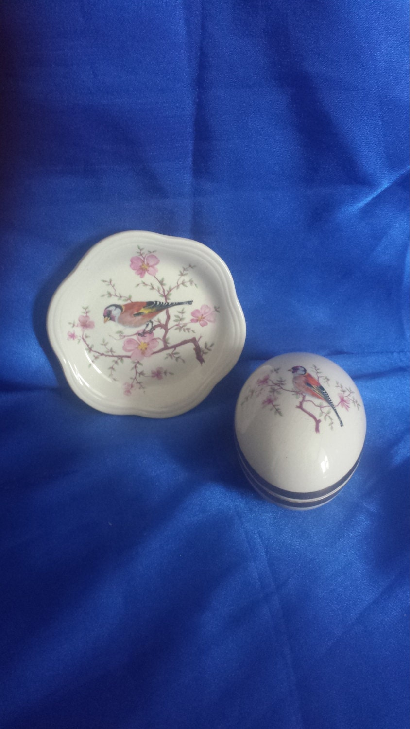 Royal Worchester Goldfinch Egg Shaped Trinket Box and Dish .