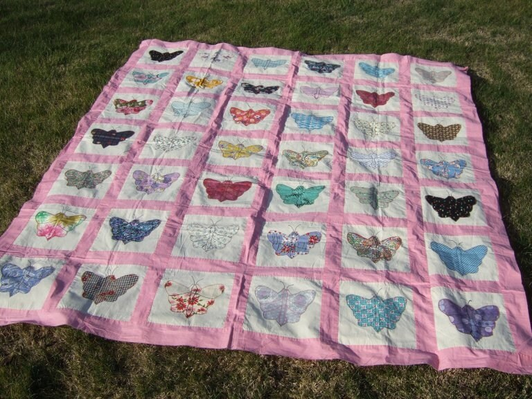 Vintage 1963 applique butterfly quilt top by ValsVintageFinds