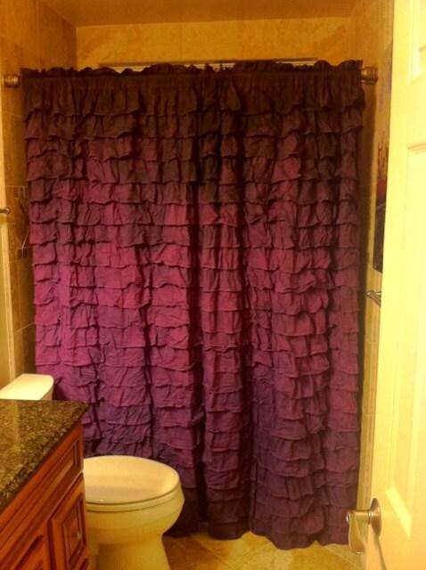 Items similar to purple ombre dye ruffle shower curtain on for Purple ombre shower curtain