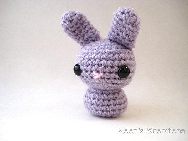 Amigurumi Doll Hair Bun : Wisteria Purple Moon Bun Amigurumi Bunny Rabbit by ...