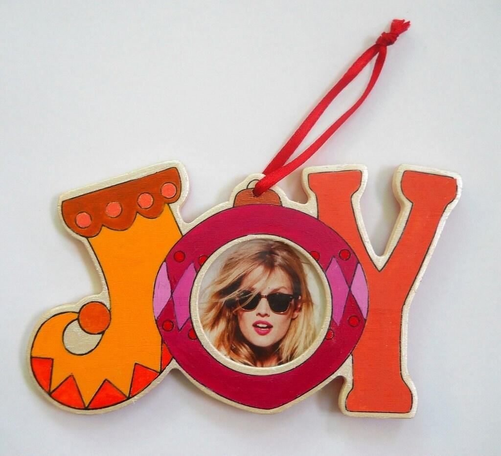 Hand Painted Rainbow JOY Ornament with photo slot - PreciousBeast