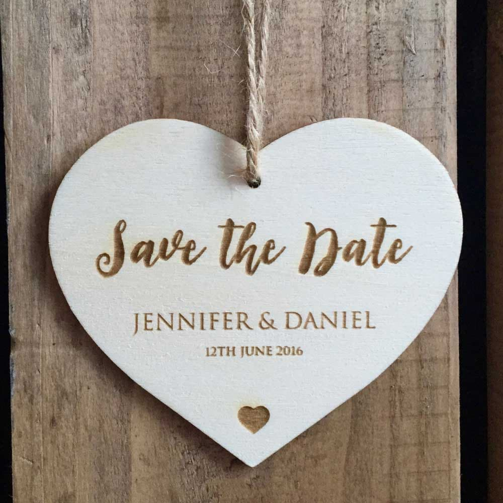 SAMPLE  Engraved Wooden Save the Date Love Heart Tag  60 x 50mm  Wedding Invitation