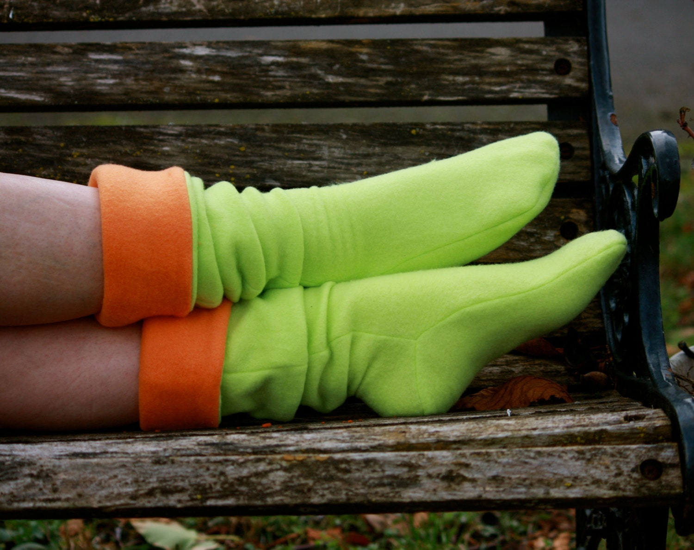 Fleece Boot Socks, Leg Warmer, Fleece House Winter Socks, Orange, Lime Green, Xtremities, Boot Cuff, Fleece Boot Socks, Form Fitted Slippers - Xtremities
