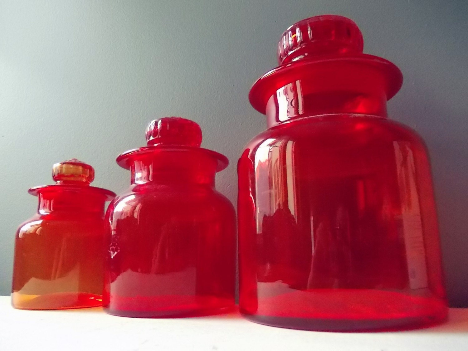 28 red glass kitchen canisters ruby red tinted glass red glass kitchen canisters red glass kitchen canisters vintage by northernscoutvintage