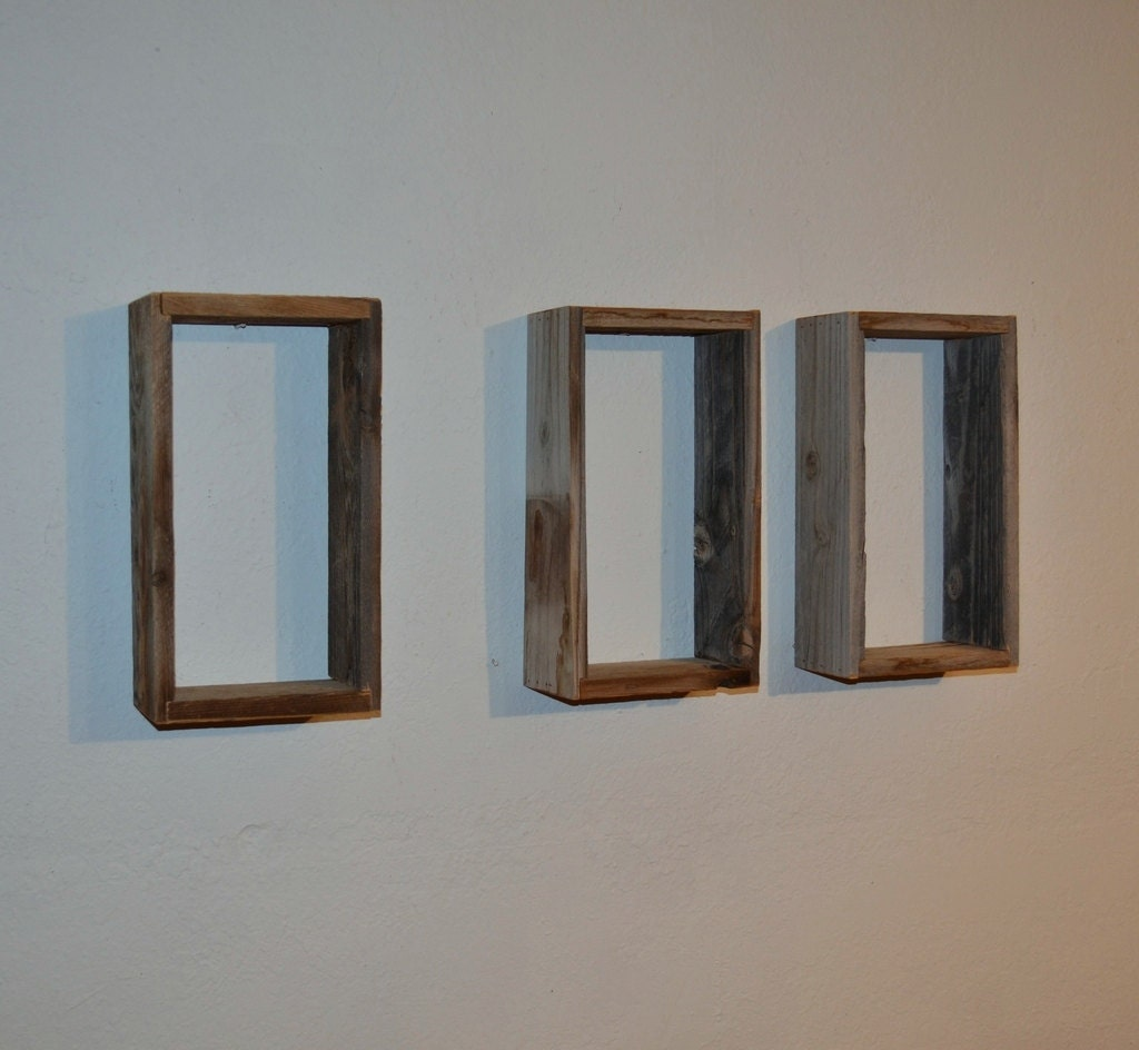 wall mounted shadow box shelves cute rustic wall by barnwood4u. Black Bedroom Furniture Sets. Home Design Ideas