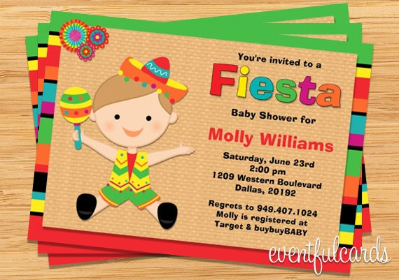 fiesta baby shower invitation for boy also available in girl