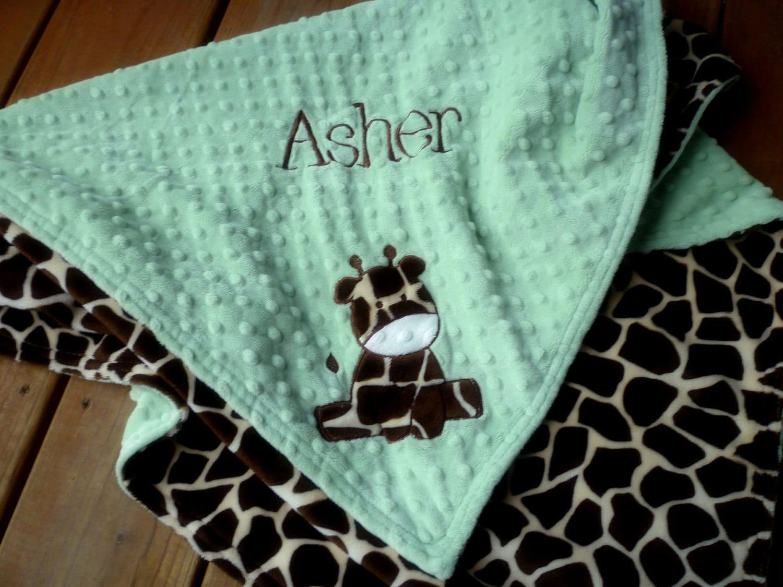 Minky baby Blanket Personalized baby boy giraffe by ...