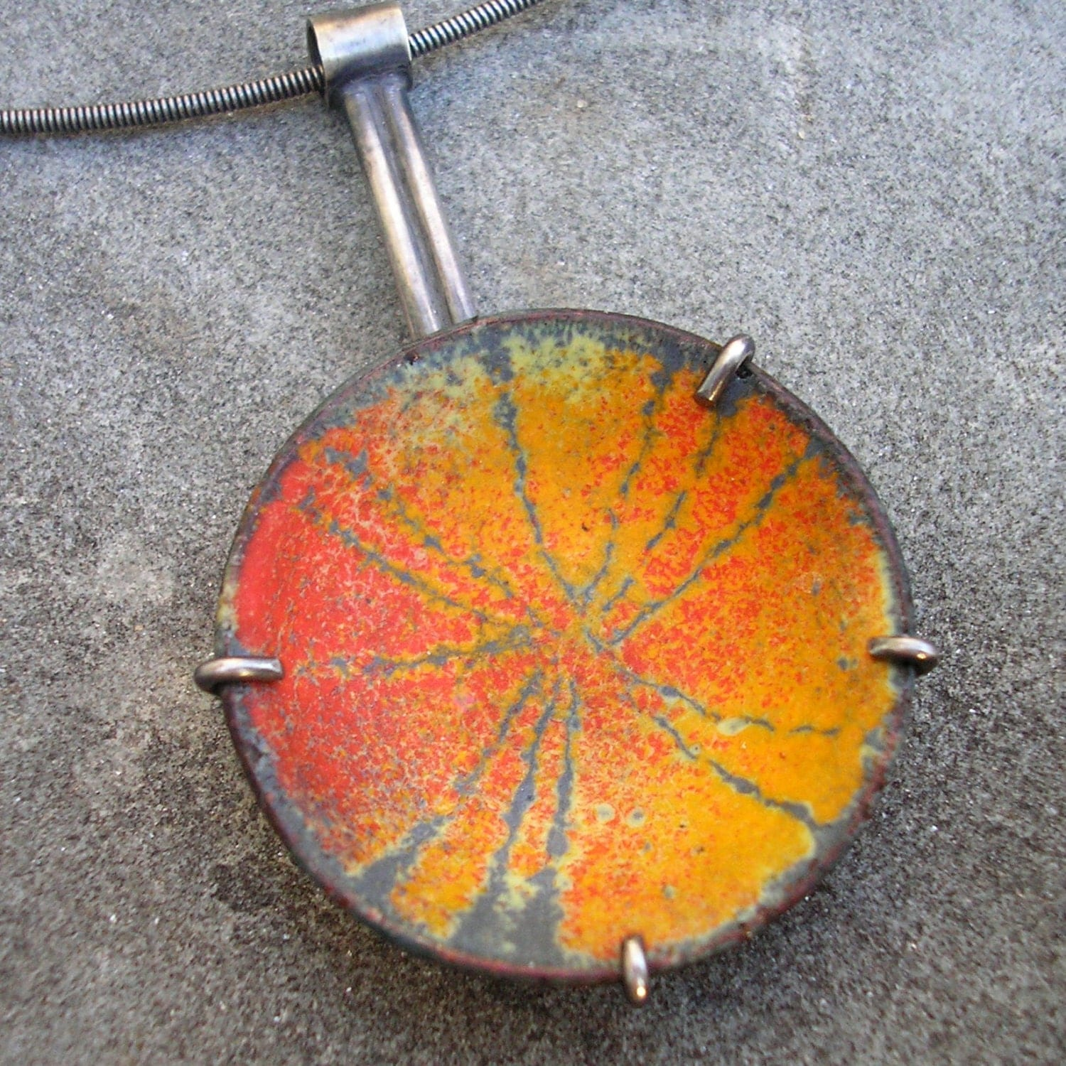 Enamel and Sterling Silver Pendant - Sgraffito Orange, Red, Chartreuse, Charcoal Grey Enamel Necklace - Enamel Sterling Silver Jewelry - lsueszabo