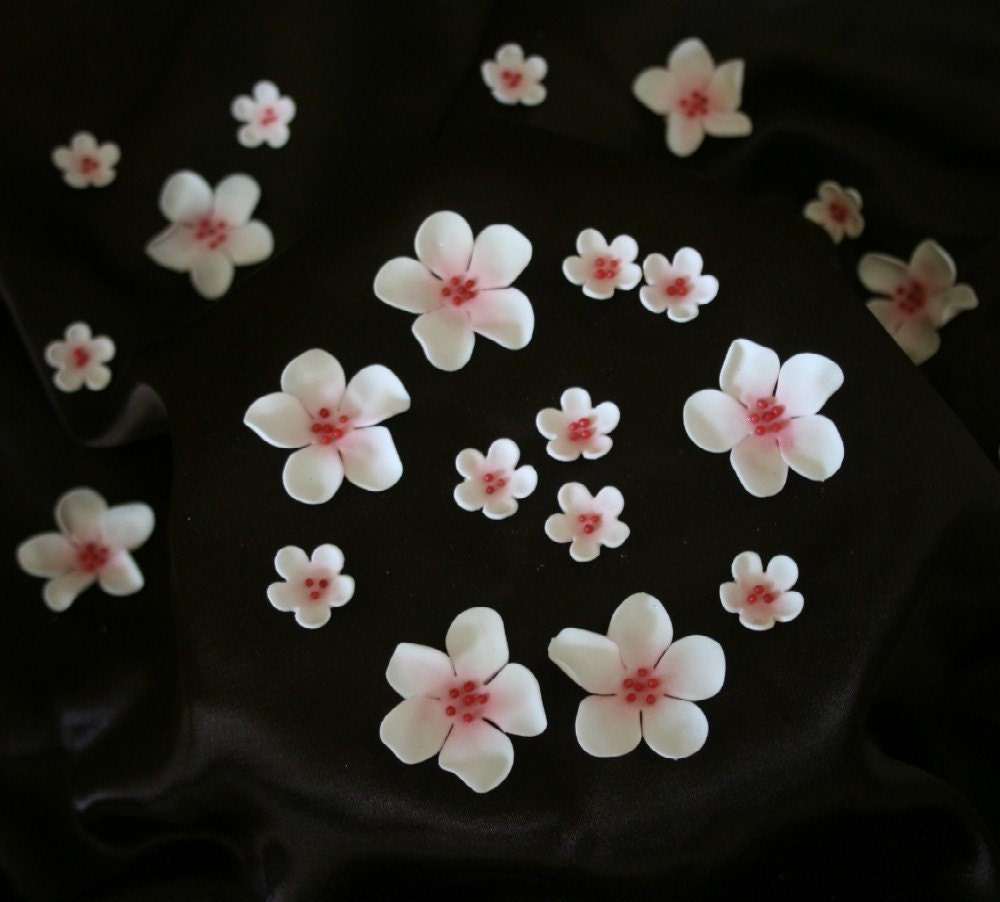 48 Edible Sugar Cherry Blossoms Small (gum paste spring flower)