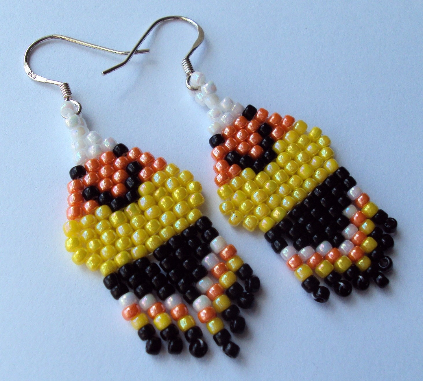 Handwoven Halloween Happy Candy Corn Dangle Earrings made with Glass Beads