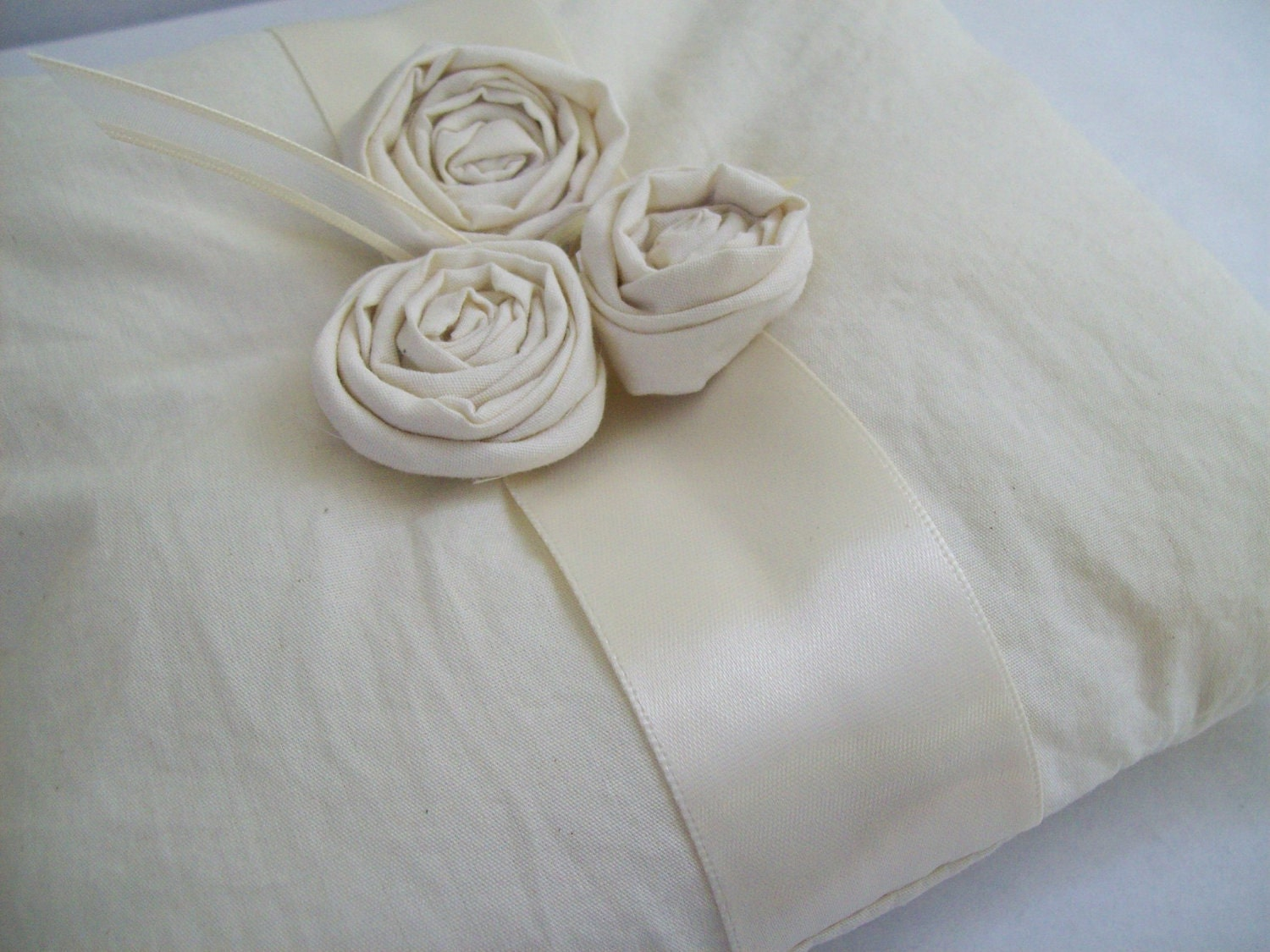 rose trio... natural cotton ring pillow
