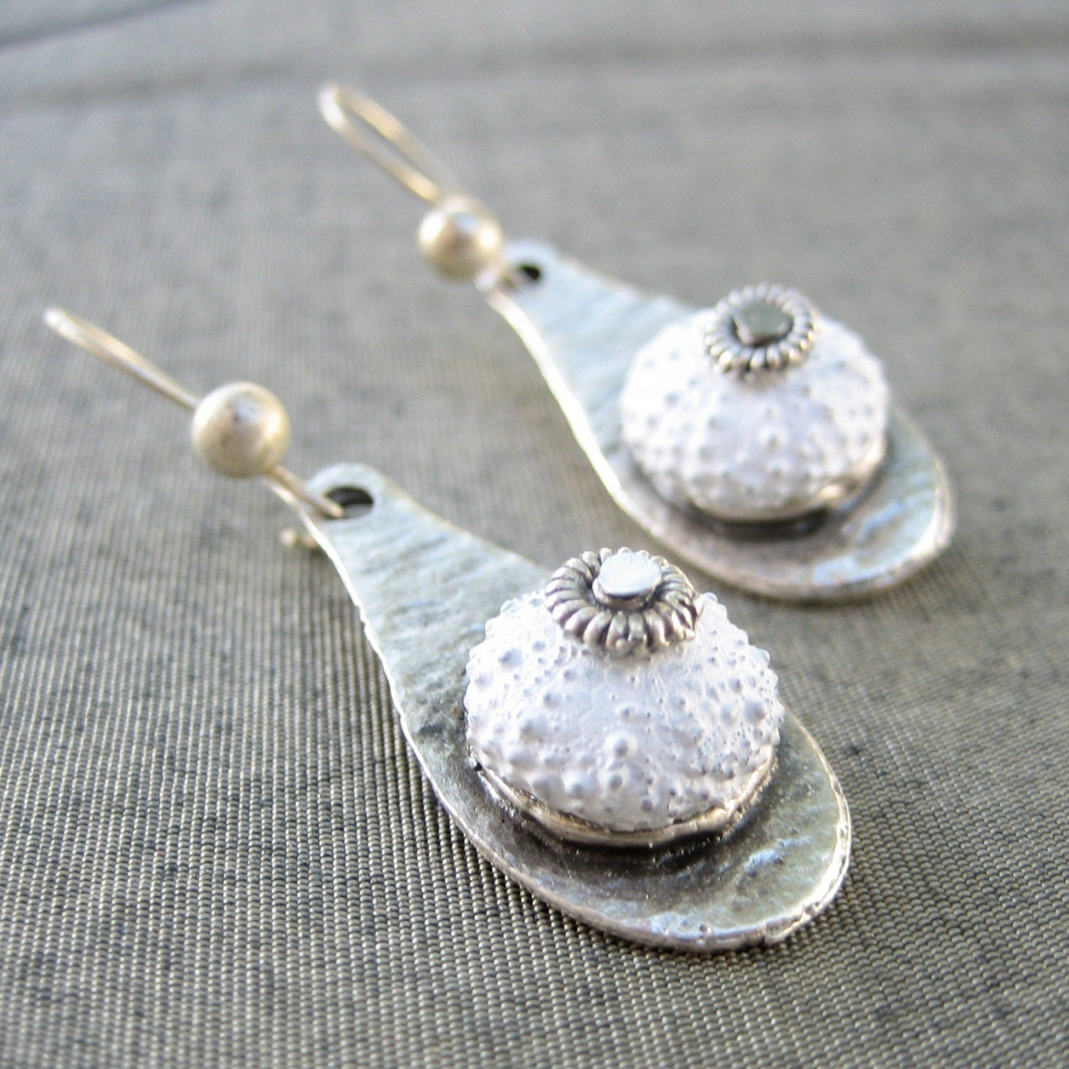 Sea Urchin Collection- White Drop Earrings