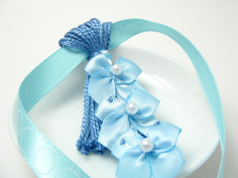 blue bows on blue baby shower spring easter by lizbethsgarden