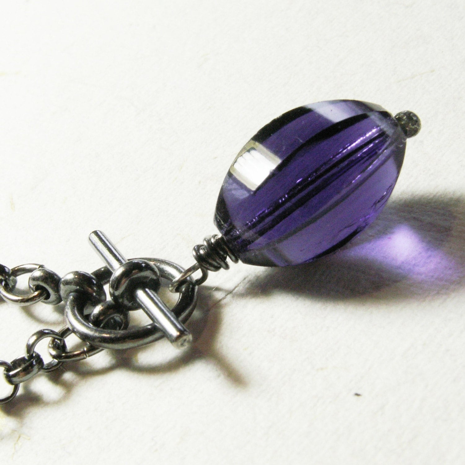 jewelry vintage glass bead sterling silver chain purple violet
