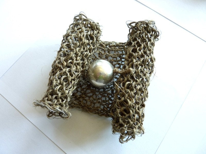 Crochet natural linen thread and silver wire with sivler touch Bracelet