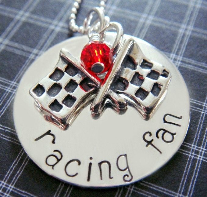 Racing Fan Hand Stamped Necklace