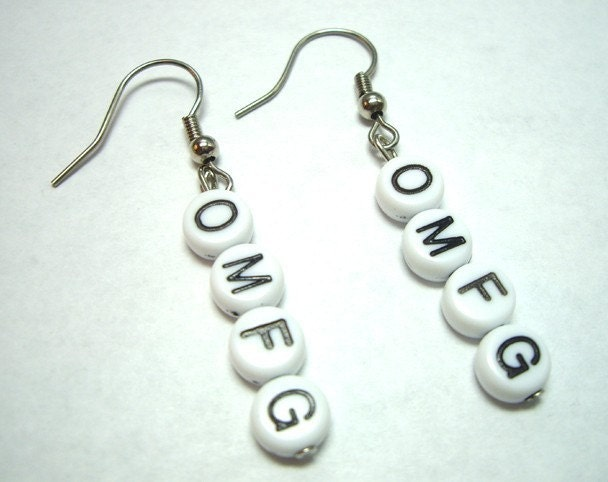 OMFG Alphabet Bead Earrings Gamer Girl Geeks by dvrdown on Etsy