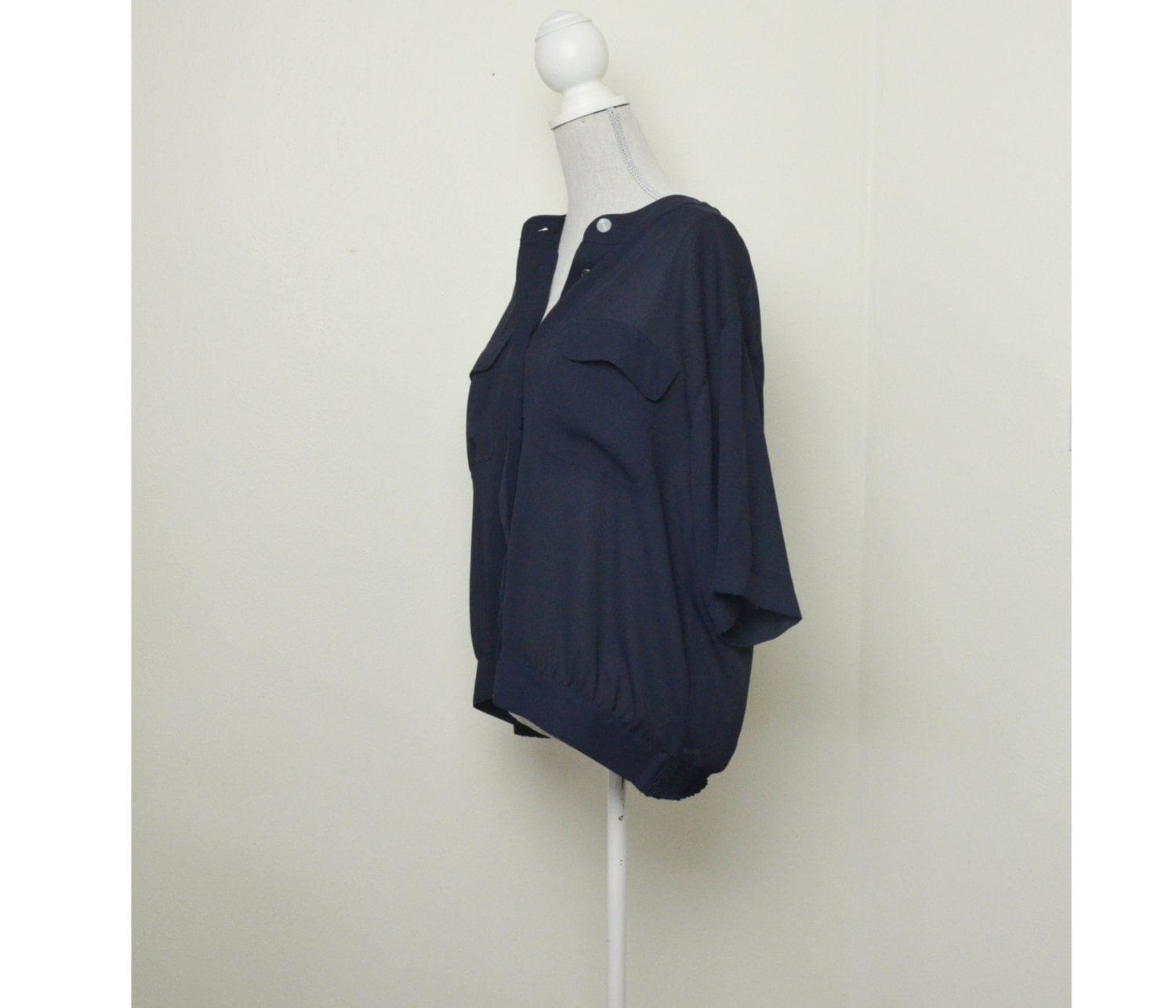 Navy Blue Blouse Sheer Button Up Shirt Flowy By