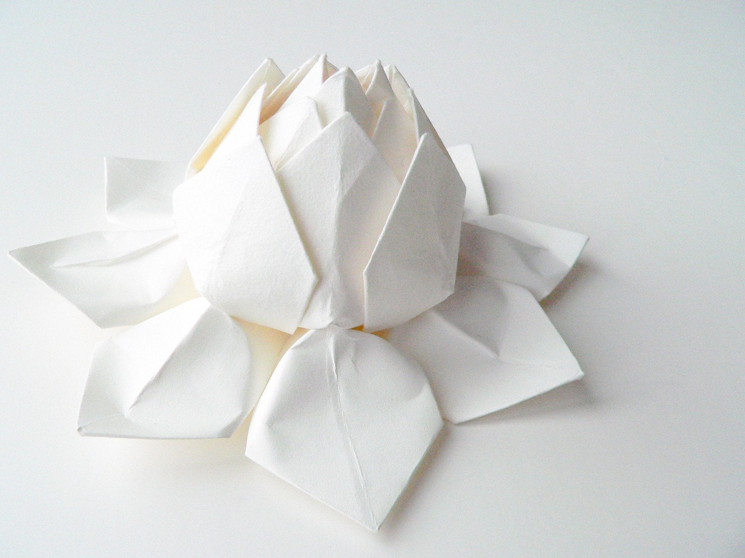 Origami Lotus Flower Decoration or Favor - all white