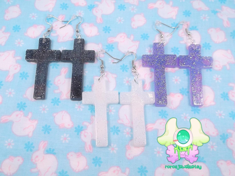 Pastel Goth Cross Earrings - Pick One