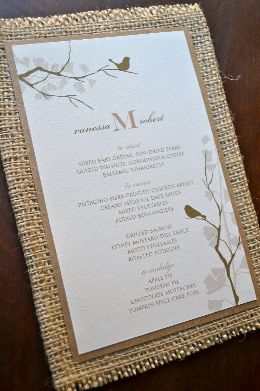 Items similar to Rustic wedding menu with burlap and ...
