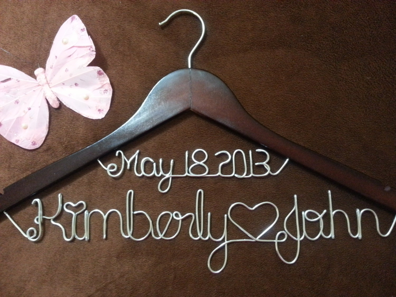 Personalized wedding hangers bridal hangers by for Custom hangers for wedding dress