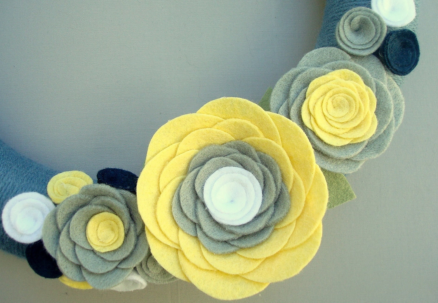 "Blue Wreath Yarn and Felt Flowers.  12 ""- blue, pale yellow, light gray, white, and navy - Clouds in the Sunshine"