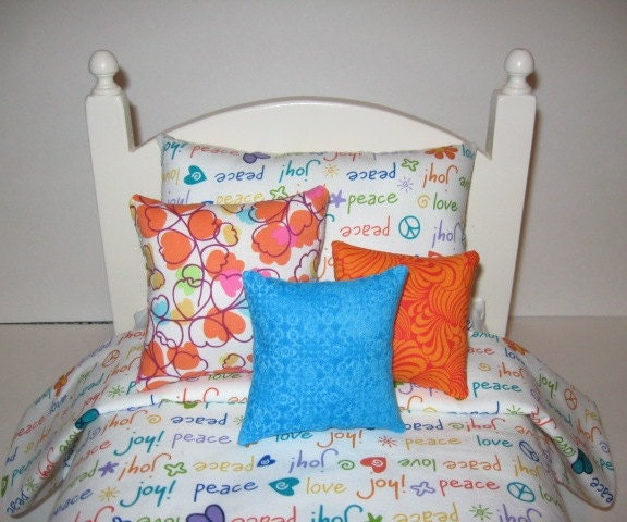 American Girl Doll Bedding In White Teal Orange by BosBoutique