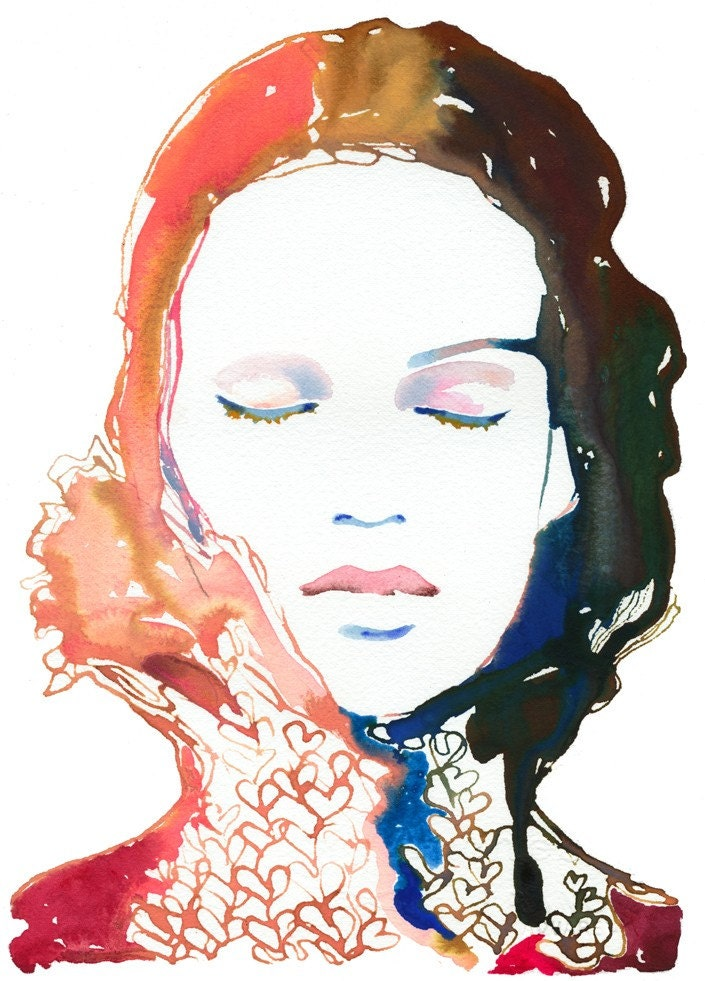 Watercolour Fashion Illustration Print - Heartink1