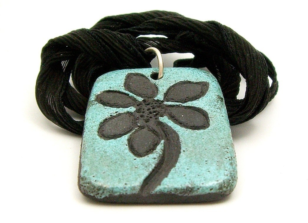 Aqua Flower Raku Pendant Raku Ceramic Jewelry by MAKUstudio