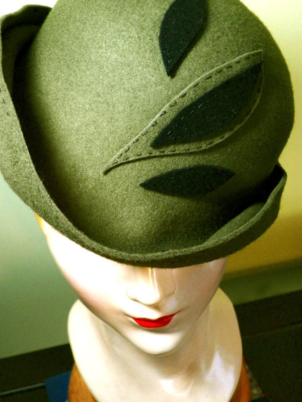 Olive Top-Stitched Leaf Wool Cloche Style Hat (One-of-a-Kind)