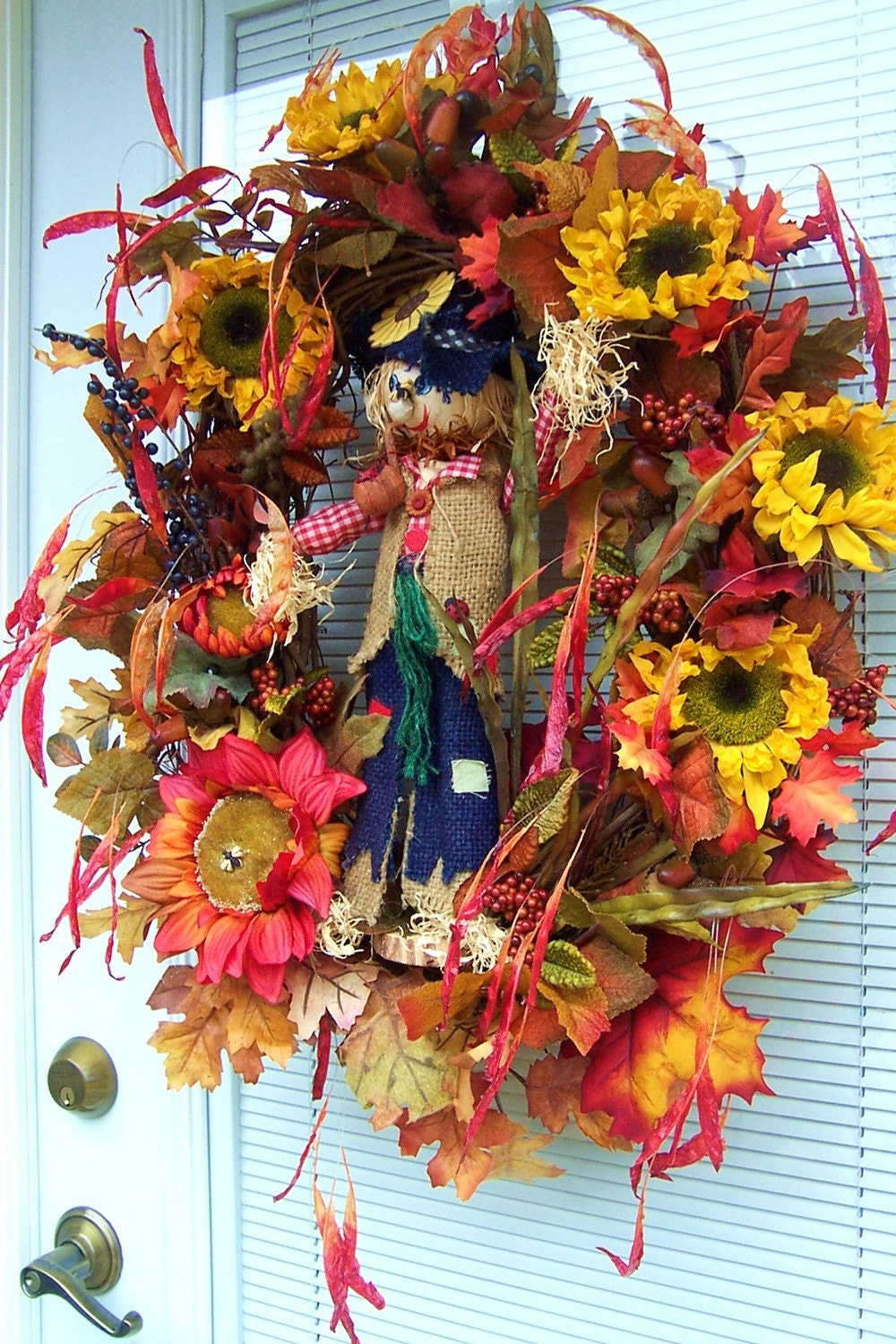FALL SALE  Silly Sam Scarecrow Fun Fall Wreath