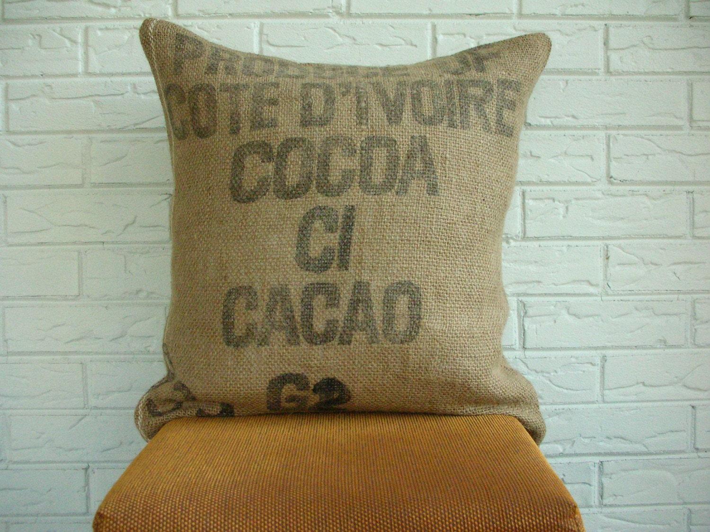 No. 1 Cote D'Ivoire Reclaimed Burlap Cocoa Sack Pillow Cover, 20