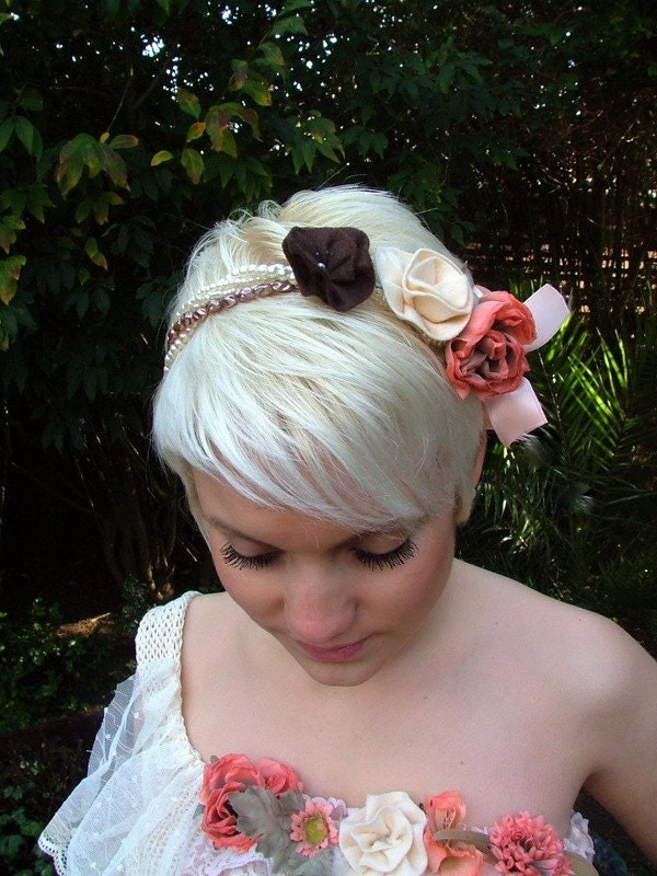 PEACHES AND CREAM CARRIE DRESS..handmade hairband to match..