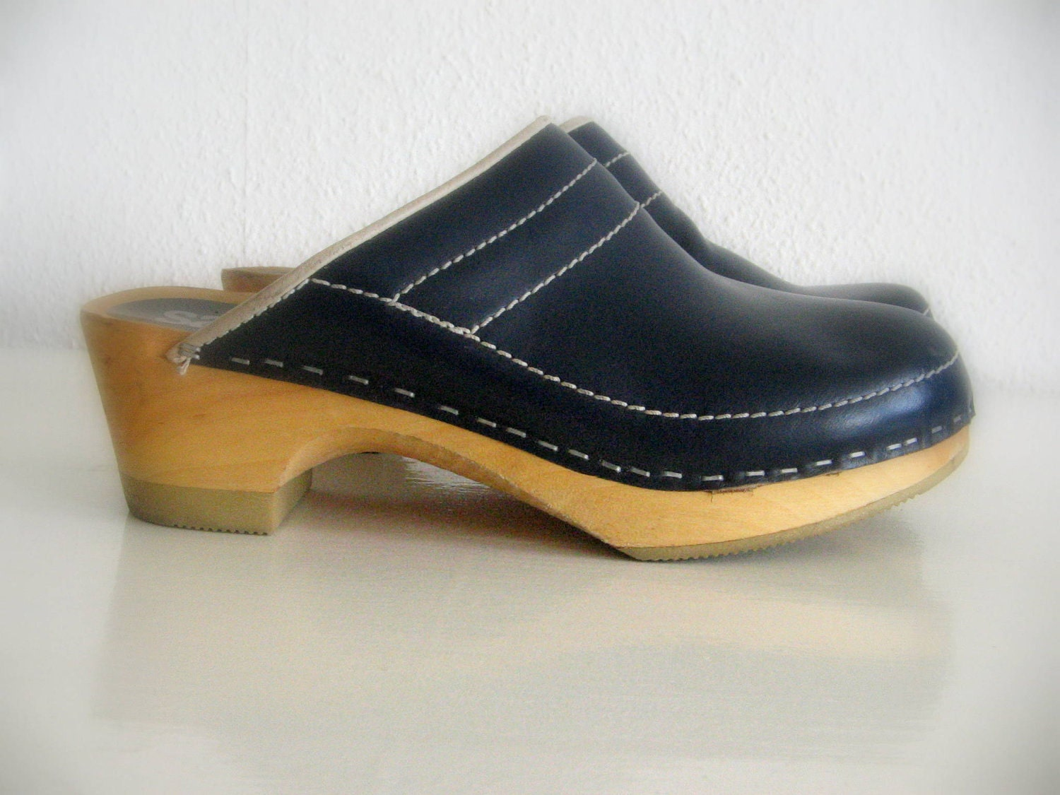 Vintage 70s Danish Clogs . Size 7.5 . Blue By StephanieandMathias