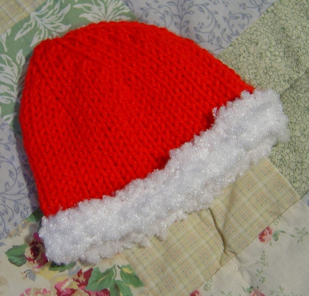 Knitting Pattern For Infant Santa Hat : Santa Baby Knit Hat Pattern PDF by MadameSegneri on Etsy