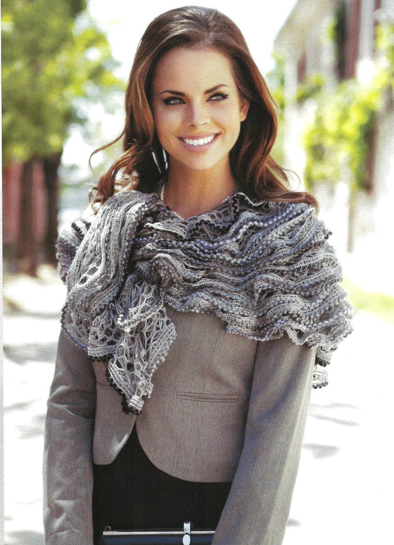 ROMANTÄ°C Knitting ruffle salsa shawl handmade neckwarmer autumn women accessories grey - yarnisland