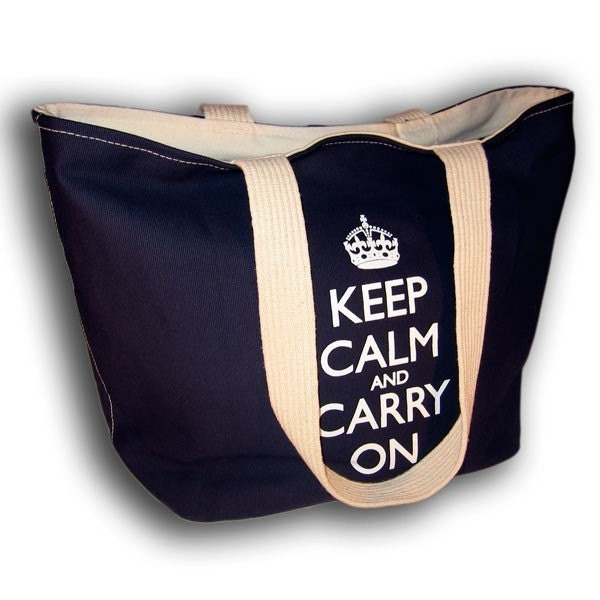 Keep Calm and Carry On Blue Shopping Tote Bag