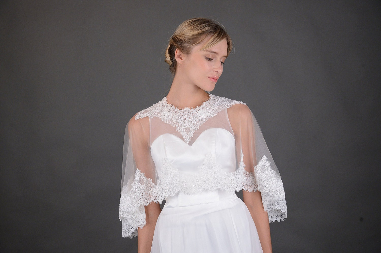 Bridal wedding dress Alencon lace Soft Tulle wrap cape Flower Floral shrug bolero Capelet jacket beaded cover up bride accessories