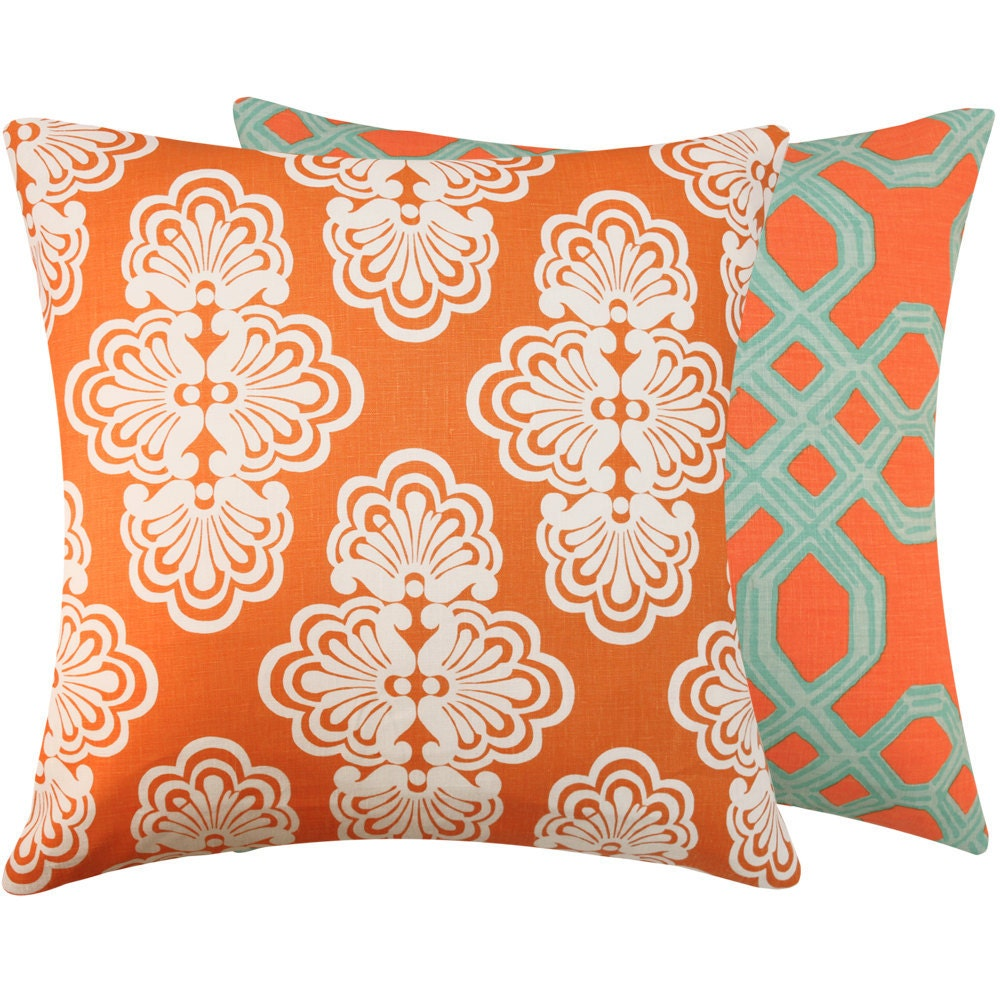lilly pulitzer orange turquoise pillow by chloeandolivedotcom. Black Bedroom Furniture Sets. Home Design Ideas