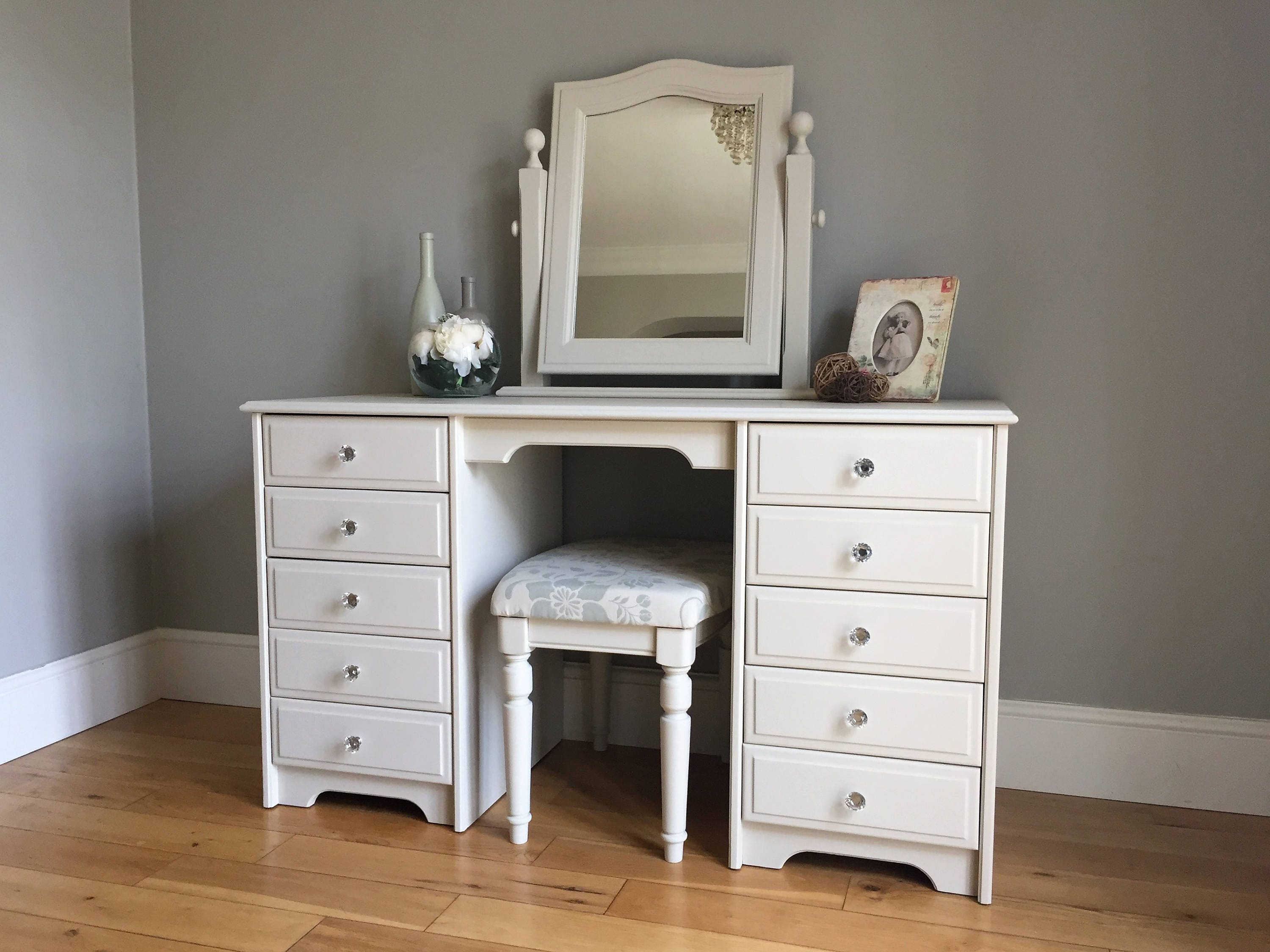 Cream Painted Pine Dressing Table Set (delivery quote available on request)