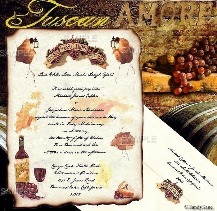 TUSCAN AMORE Vineyard Grapes Cheese lantern Theme Wedding Invitations