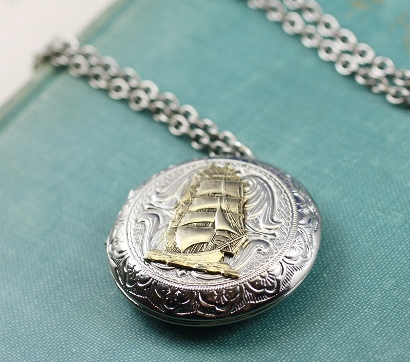 Pirate ship locket necklace large victorian silver