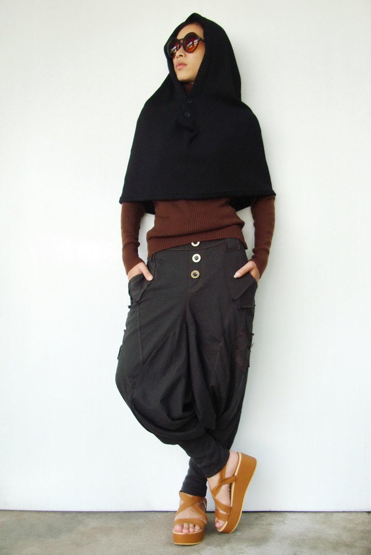 NO.97   Unisex, Black Cotton-Blend Hooded Cape Scarf Shawl - JoozieCotton
