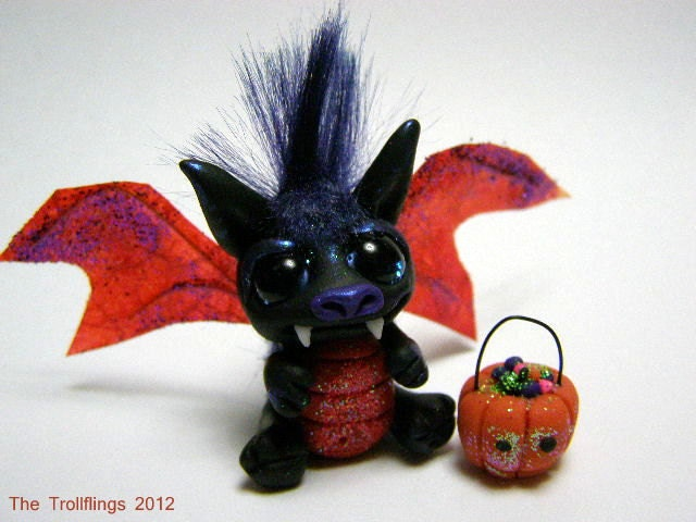 "A Halloween Trick or Treat Dragon Trollfling Troll ""Davey"" by Amber Matthies - Trollflings"